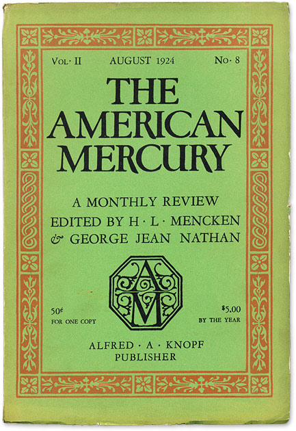 Image for The American Mercury - 3 early issues (1924 - Vol. 1, No. 4, Vol. II, No. 5  and Vol. II, No. 8 (1924)